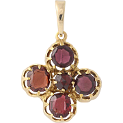 Vintage Garnet Pendant - 18k & 14k Yellow Gold Flower Design 2.40ctw