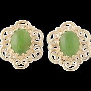 Nephrite Jade Stud Earrings - 14k Yellow Gold Oval Cabochon Pierced 1.80ctw