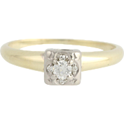 Vintage Diamond Engagement Ring - 14k Yellow & White Gold Illusion Mount .12ctw