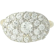 Vintage Diamond Cluster Ring - 14k Gold & Platinum Pave Old European .84ctw