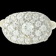 Vintage Diamond Cluster Ring - 14k Gold & Platinum Pave Old European .84ctw