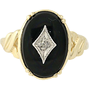 Vintage Onyx Ring - 10k Yellow Gold Diamond Accent Women's Size 6