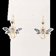 Vintage Opal & Marcasite Butterfly Earrings - 14k Yellow Gold Pierced