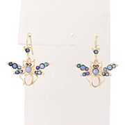 Vintage Opal & Marcasite Butterfly Earrings - 14k Yellow Gold Pierced