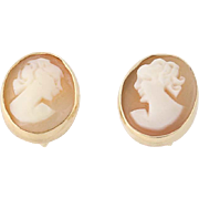 Vintage Carved Shell Cameo Earrings - 14k Yellow Gold Stud Style Pierced