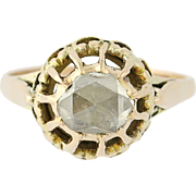 Georgian Diamond Ring - 14k Yellow Gold Antique Solitaire Rose Cut 1.18ct