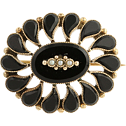 Edwardian Onyx & Seed Pearl Brooch / Pendant - 10k Yellow Gold Convertible