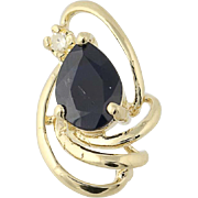 Sapphire & Diamond Pendant - 14k Yellow Gold Pear Brilliant .71ctw