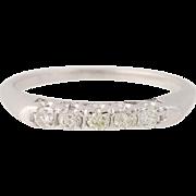 Vintage Diamond Wedding Band - 14k White Gold Five-Stone Ring Round Cut .20ctw