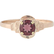 Art Deco Garnet Solitaire Ring - 10k Rose Gold Women's Vintage .85ct