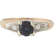 Art Deco Sapphire & Diamond Ring - 10k & 18k Gold Vintage Engagement .74ctw