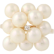Cultured Pearl & Diamond Cluster Cocktail Ring - 14k Yellow Gold Euro Shank