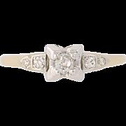 Art Deco Diamond Engagement Ring - 14k & 18k Gold Vintage Old Mine Cut .21ctw