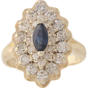 Sapphire & Diamond Cluster Ring - 14k Yellow Gold Marquise Cut .96ctw