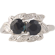 Art Deco Sapphire & Diamond Ring - 14k White Gold Vintage Bypass 2.00ctw