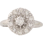 Vintage Diamond Cluster Cocktail Ring - 14k White Gold Round Brilliant .50ctw