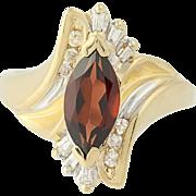 Garnet & Diamond Bypass Ring - 14k Yellow Gold Marquise Cut 1.63ctw