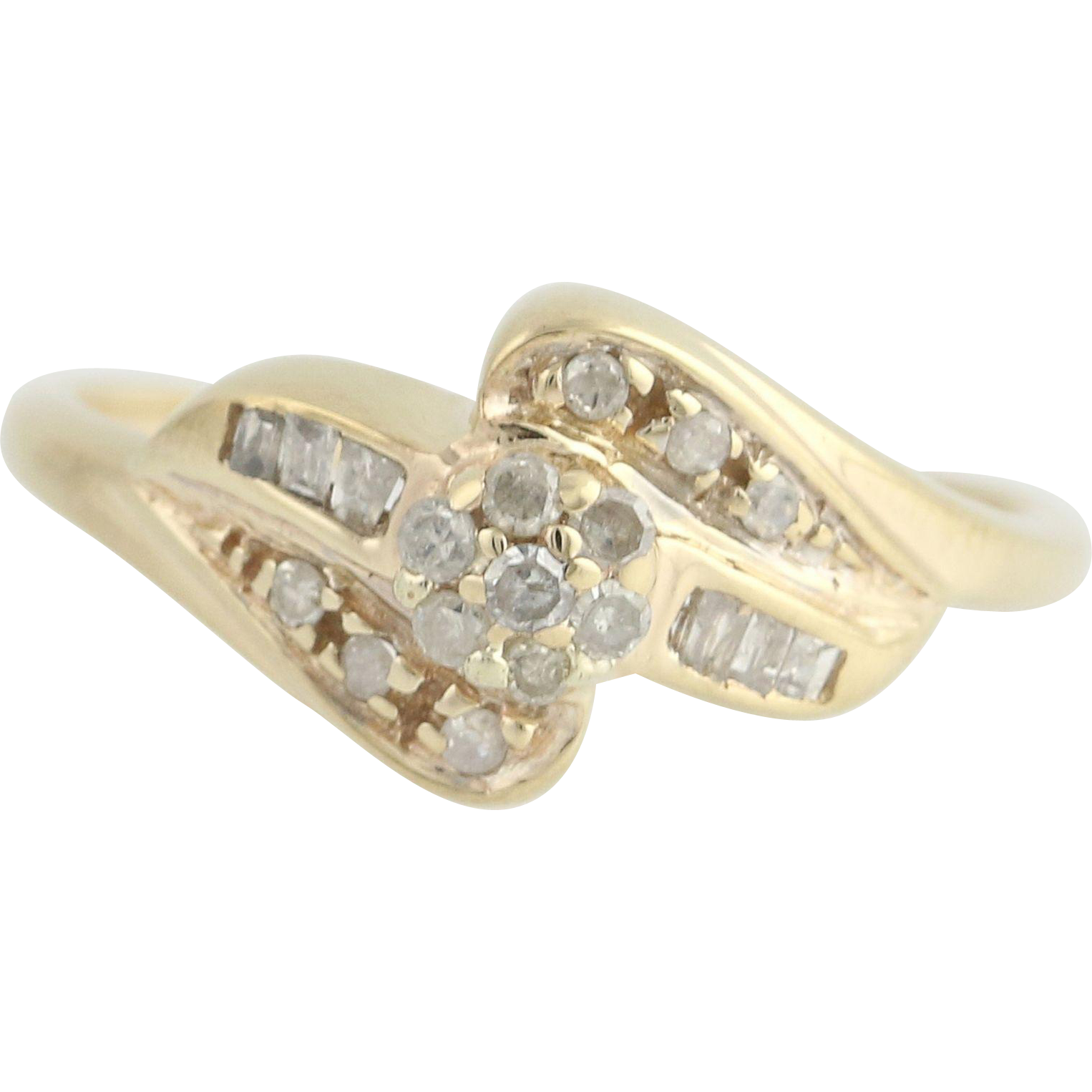 Diamond Bypass Ring - 10k Yellow Gold Baguette Cut .20ctw