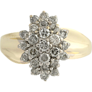 Diamond Cluster Cocktail Ring - 10k Yellow & White Gold April Birthstone 1.00ctw