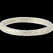 Art Deco Juliet Wedding Band - 900 Platinum Etched Women's Vintage Ring Size 5