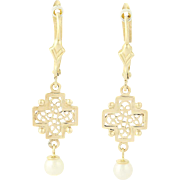 Cultured Pearl Cross Earrings - 10k & 14k Yellow Gold Dangle Pierced