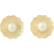 Cultured Pearl Flower Blossom Earrings - 14k Yellow Gold Studs 4.8mm Pierced