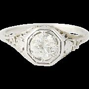 Art Deco Diamond Engagement Ring -18k Gold Vintage European Cut Solitaire .73ctw