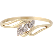 Diamond-Accented Bypass Ring - 10k Yellow Gold Women's Size 7