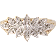 Tiered Diamond Ring - 10k Yellow & White Gold Floral Leaf Spray Size 7 1/4
