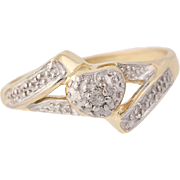 Diamond-Accented Heart Ring - 10k Yellow Gold Bypass Women's Size 7