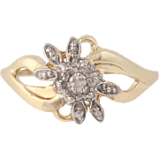 Diamond Flower Blossom Ring - 10k Yellow Gold Bypass Round Brilliant Cut