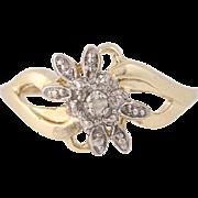 Diamond Flower Blossom Ring - 10k Yellow Gold Bypass Round Brilliant Cut