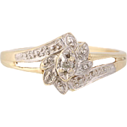 Floral Bypass Ring - 10k Yellow Gold Round Brilliant Cut Diamond Accent