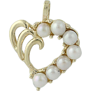 Cultured Pearl Heart Pendant - 14k Yellow Gold Love Gift Women's