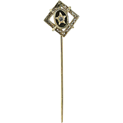 Vintage Stickpin - 14k Yellow Gold Cubic Zirconia Accent