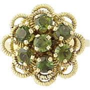 Tourmaline Flower Ring - 18k Yellow Gold Cluster Round Brilliant Cut .95ctw