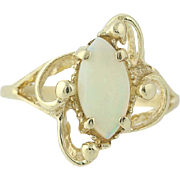 Opal Bypass Ring - 10k Yellow Gold Cabochon Cut Solitaire .50ct
