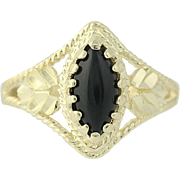Onyx Solitaire Ring - 14k Yellow Gold Marquise Cabochon Women's 7 1/2