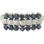 Tiered Sapphire & Diamond Ring - 10k Yellow Gold Round Brilliant .63ctw