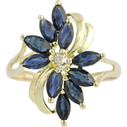 Floral Sapphire & Diamond Bypass Ring- 14k Yellow & White Gold September 1.41ctw