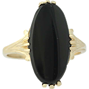 Vintage Onyx Ring - 10k Yellow Gold Solitaire Women's Size 6