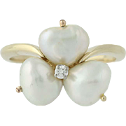 Baroque Pearl & Diamond Clover Ring - 14k Yellow Gold Women's Size 9