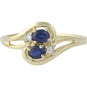 Sapphire & Diamond Bypass Ring - 14k Yellow Gold Oval Brilliant .53ctw