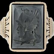 Victorian Hematite Ring - 9k Yellow Gold Ancient Warrior Men's Antique Size 10