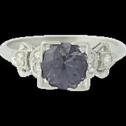 Art Deco Spinel & Diamond Engagement Ring - 900 Platinum Vintage Round 1.37ctw
