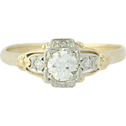 Art Deco Diamond Engagement Ring -14k Gold Vintage Old European .38ctw