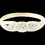 Vintage Diamond Ring - 14k Yellow White Gold Women's Band