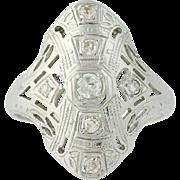Art Deco Diamond Ring - 18k White Gold Size 4 3/4 Vintage .16ctw