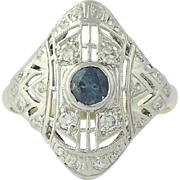 Art Deco Sapphire & Diamond Ring - 10k Yellow Gold & Platinum Vintage .59ctw