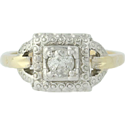 Art Deco Diamond Engagement Ring -14k Yellow & White Gold Vintage Mine Cut .23ct